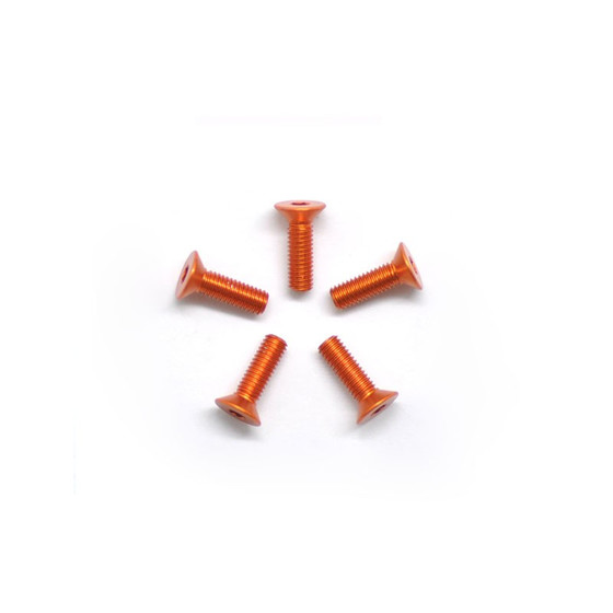 Alu Screw Allen Countersunk M3X10 Orange (7075) (5)